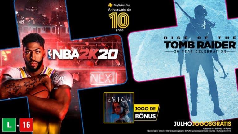 PS Plus/Julho2020: NBA 2K20 e Rise of the Tomb Raider Gratuitos